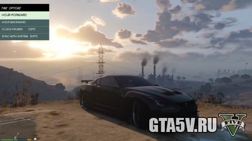 GTA 5 Мод Nissan GTR - черная машина
