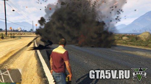 Мод на ГТА 5 Улучшенные взрывы — Enhanced Explosions - Эффектные взрывы пример 2