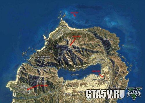 НЛО в ГТА 5 карта с местами расположения летающих тарелок